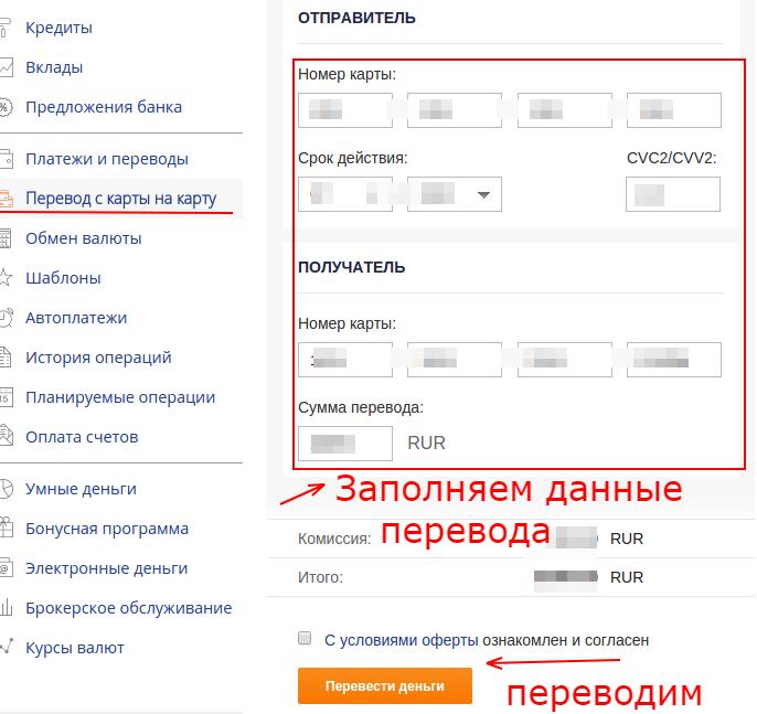 перевод денег Промсвязьбанк