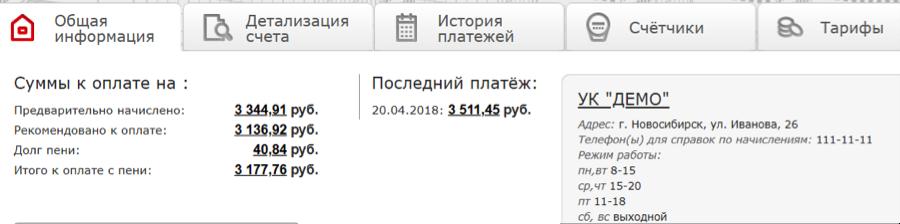 ЖКХНСО РФ — Личный Кабинет
